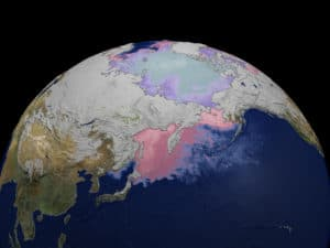Snow Cover and Sea Surface Temperatures. Credit: NASA